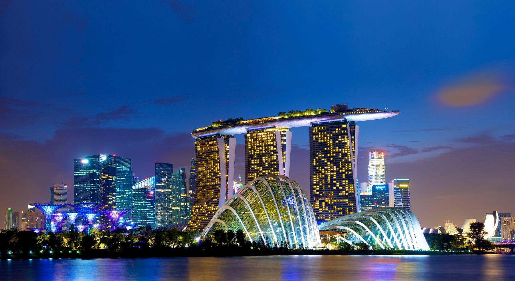 Ausblick auf die Skyline und das Hotel Marina Bay Sands