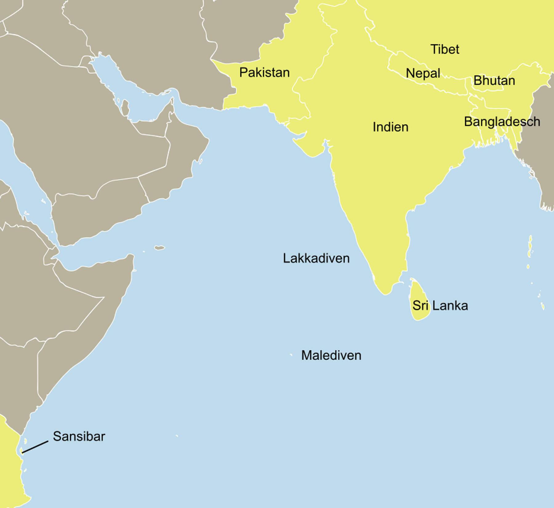 Karte Indischer Subkontinent