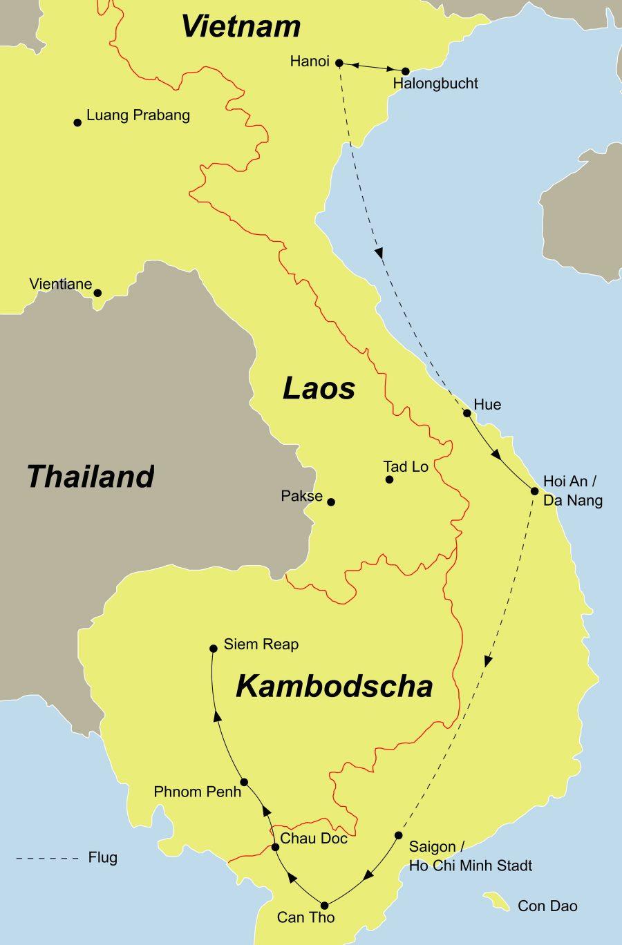 Die Reise Indochina erleben führt Sie von Hanoi über die Halong Bucht nach Hoi An, weiter geht es nach Saigon und weiter nach Kambodscha.