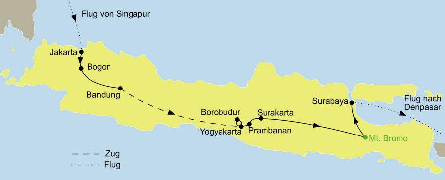 Die Reise Singapur, Java und Bali zum Kennenlernen führt von Singapure über Jakarta zum Mout Bromo und weiter nach Bali