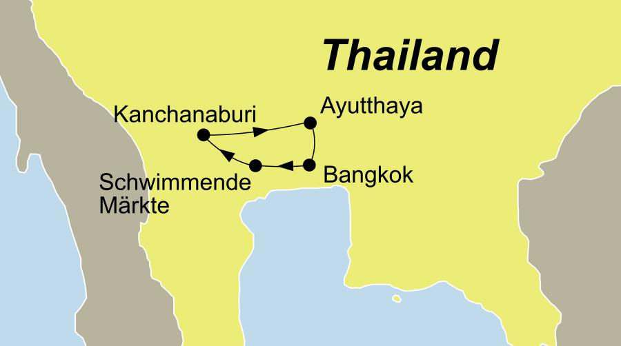 Die Reise Mini Kulturreise Thailand führt von Bangkok zu den schwimmenden Märkten über Kanchanaburi nach Ayutthaya