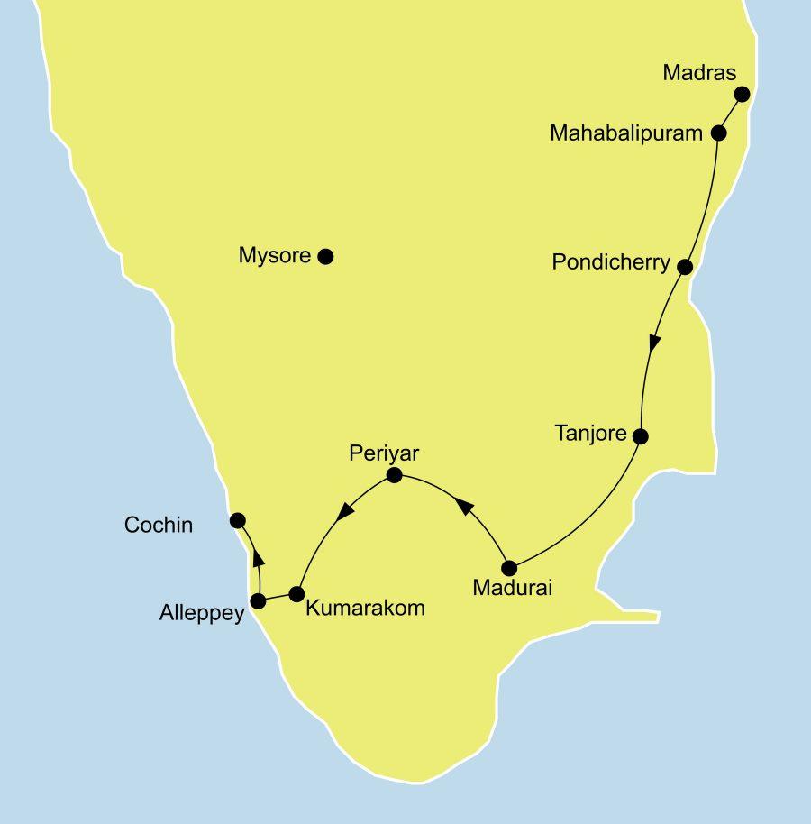 Der Reiseverlauf der Reise Indiens exotischer Süden startet in Madras und endet in Cochin.