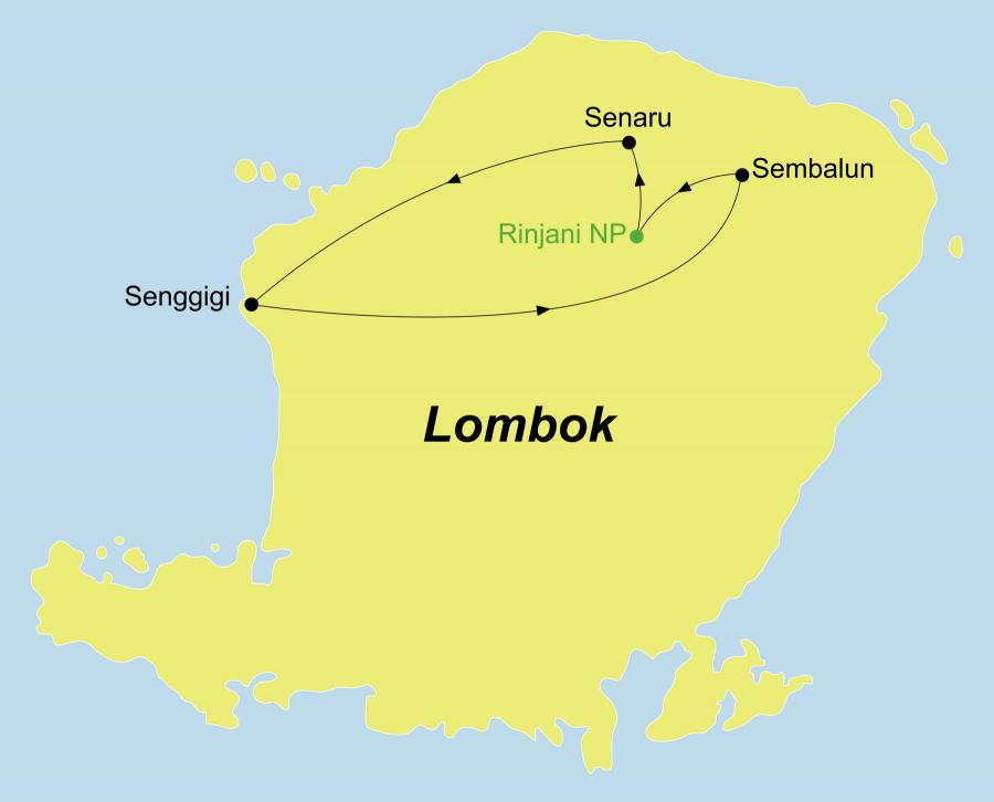 Die Lombok Rundreise führt von Senggigi über Sembulan, Rinjani Nationalpark, Segara Anak/Vulkan Mount Baru, Senaru zurück nach Senggigi.