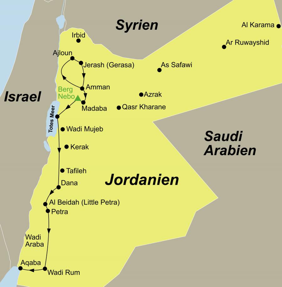 Die Jordanien Rundreise führt von Amman über Ajloun Nationalpark – Jerash – Madaba – Nebo – Totes Meer – Dana Nationalpark – Beidah – Petra – Wadi Rum nach Aqaba.
