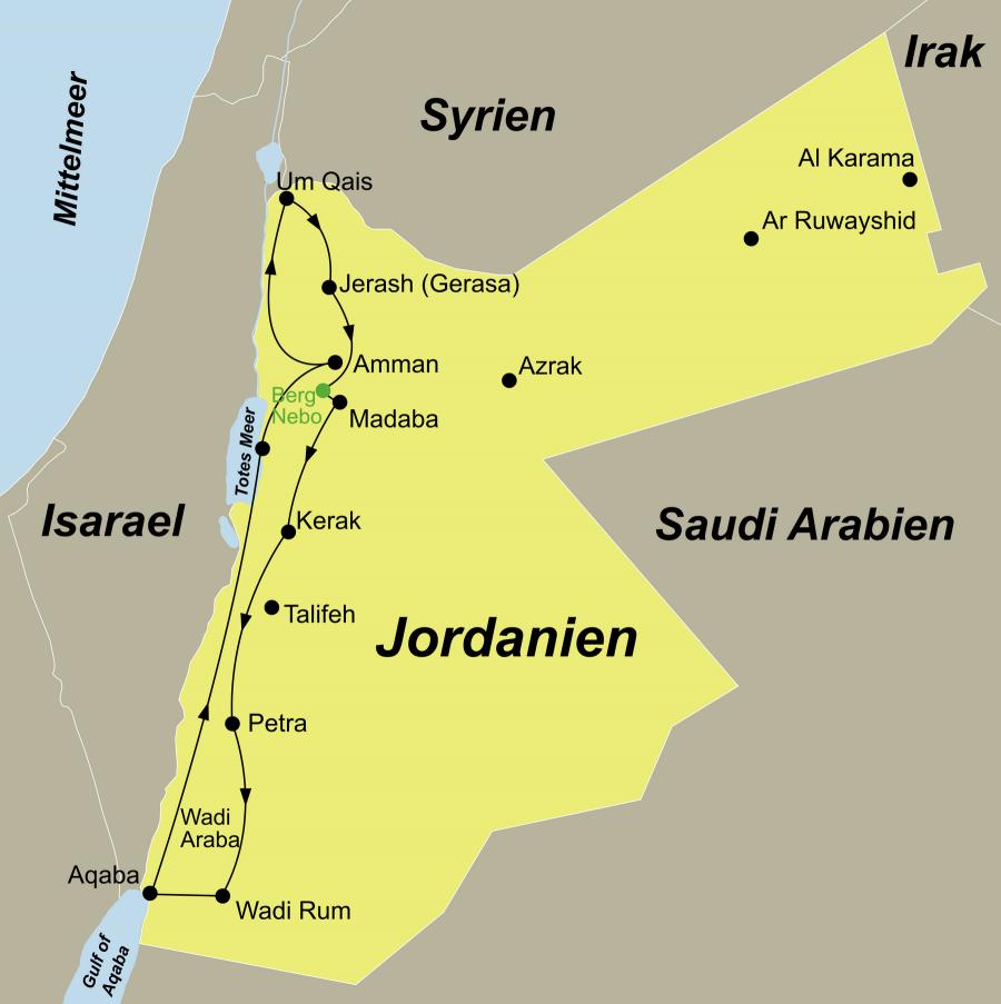 Die Jordanien Rundreise führt von Amman über Um Qais – Jerash – Berg Nebo – Madaba – Kerak – Petra – Wadi Rum – Aqaba – Totes Meer zurück nach Amman.