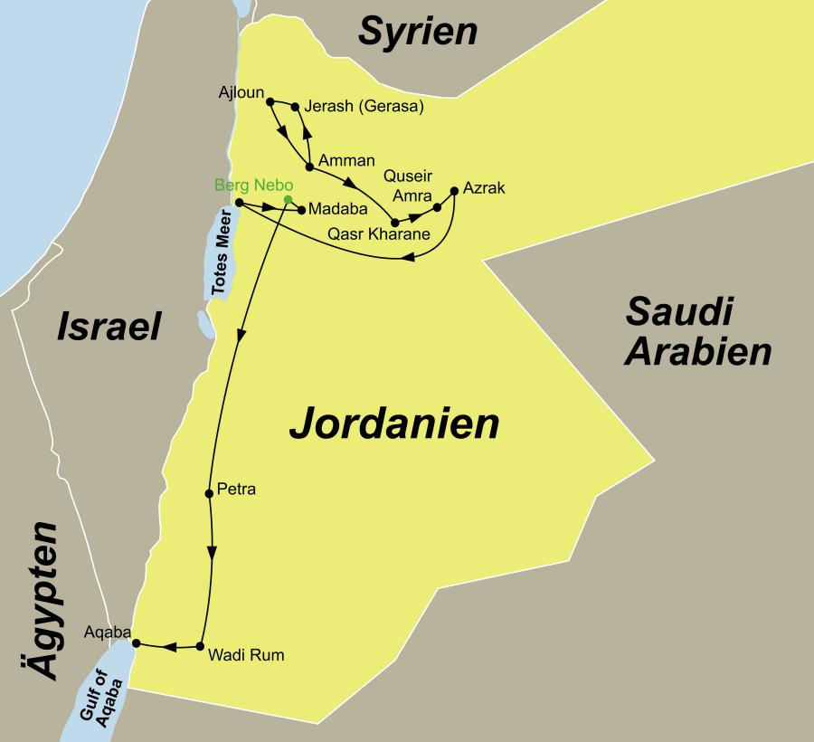 Der Reiseverlauf zu unserer Jordanien Reise Jordaniens Höhepunkte startet in Amman und endet in Aqaba.