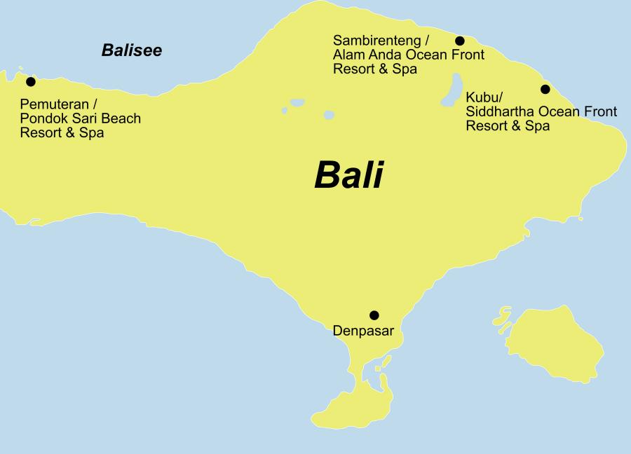 Der Reiseverlauf zu unserer Indonesien Reise Bali Tauchen mit Werner Lau startet und endet in Denpasar.