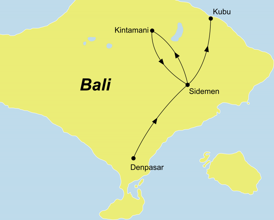 Der Reiseverlauf zu unserer Indonesien Reise Bali Yoga Wellness startet in Denpasar und endet in Kubu.