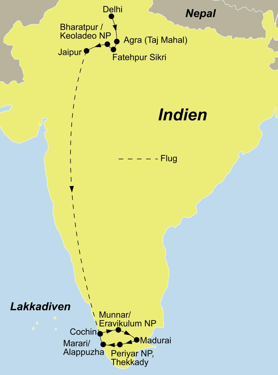 Der Reiseverlauf zu unserer Indien Reise Best of Indien startet in Delhi und endet in Mararikulam.