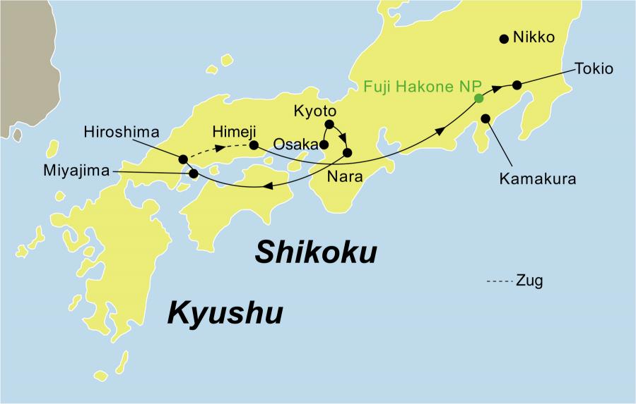 Der Reiseverlauf zu unserer Japan Reise Best of Japan startet in Osaka und endet in Tokio.