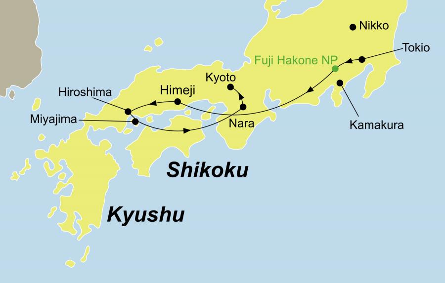 Der Reiseverlauf zu unserer Gruppenreise Japan Best of Japan startet in Tokio und endet in Kyoto.