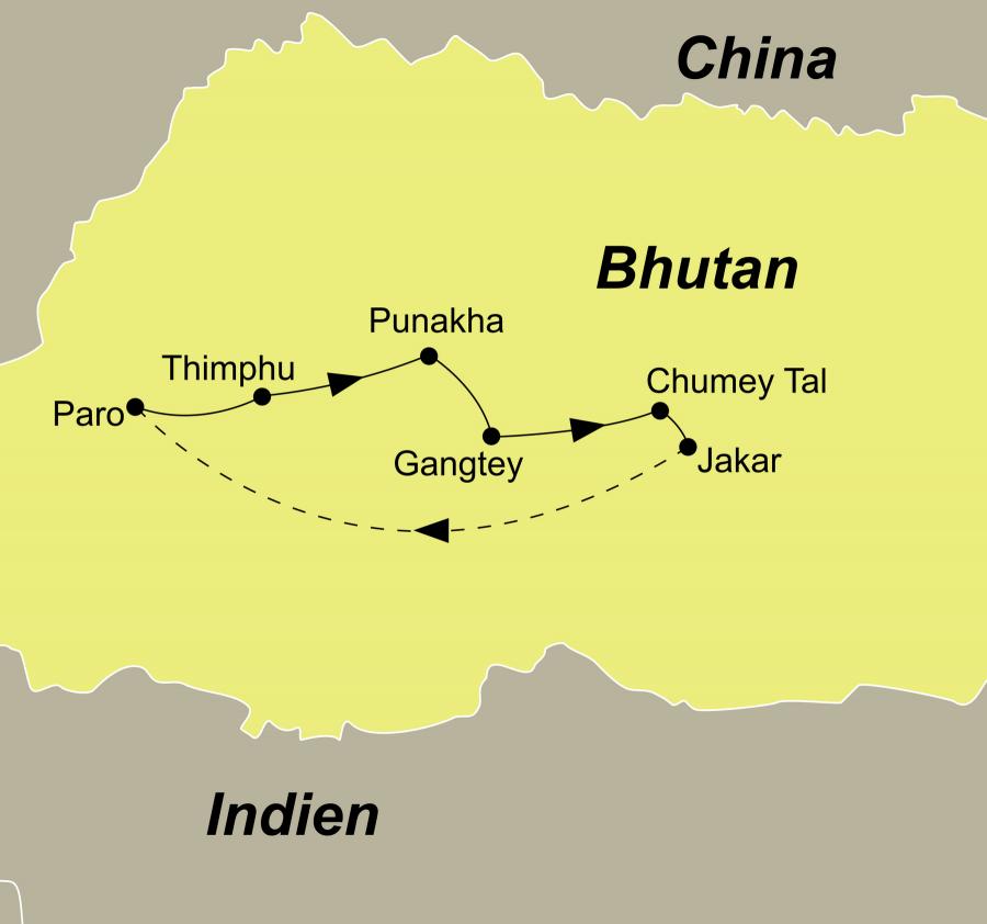 """Der Reiseverlauf zu unserer Bhutan Reise 2018 """"Tanz der Dämonen"""" startet und endet in Paro."""