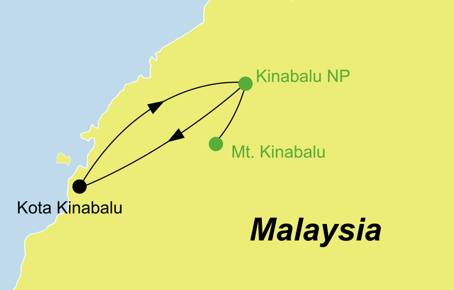 Die Malaysia Rundreise führt von Kota Kinabalu über den Kinabalu Park zurück nach Kota Kinabalu.