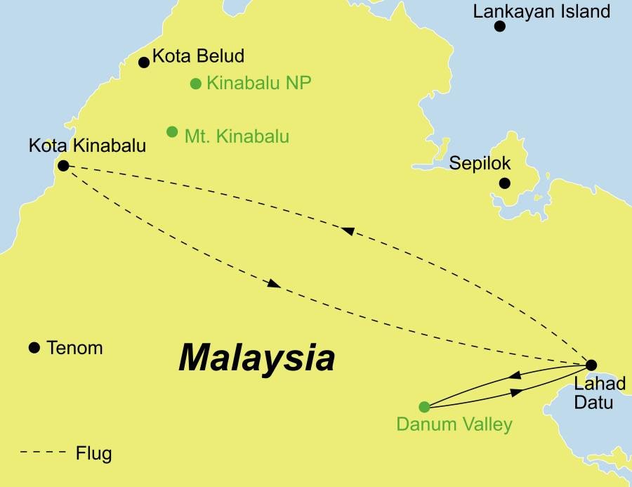 Die Malaysia Rundreise führt von Kota Kinabalu über Lahad Datu und das Danum Valley zurück nach Kota Kinabalu.