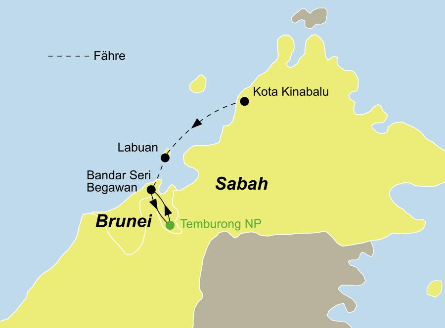 Die Brunei Rundreise startet in Kota Kinabalu (Sabah) und zeigt Ihnen Bandar Seri Begawan und den Temburong Nationalpark