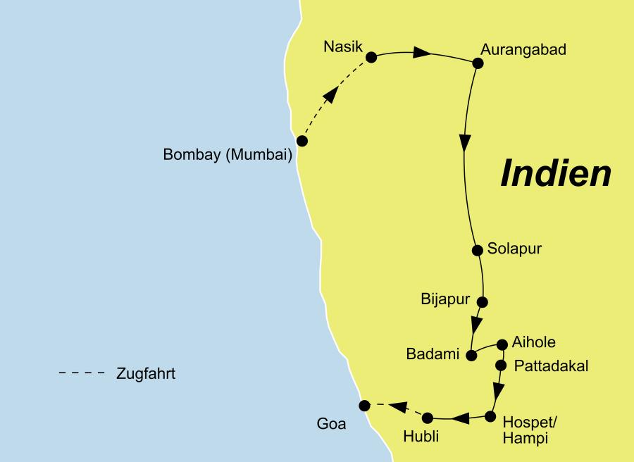 Die Zentralindien Rundreise führt von Bombay (Mumbai) über Nasik, Aurangabad, Bijapur, Badami, Hospet und Hampi nach Goa.
