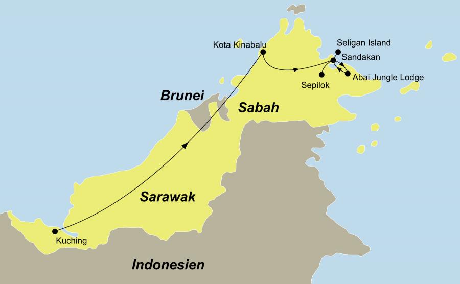 Der Reiseverlauf zu unserer Malaysia Reise Borneos Natur & Tiere hautnah erleben startet in Kuching und endet in Sandakan.