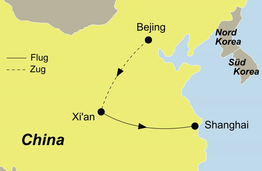 Der Reiseverlauf zu unserer China Reise China zum Kennenlernen startet in Peking und endet in Shanghai.