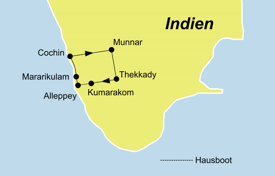 Die Indien Reise Südindien Kerala Mararikulam startet und endet in Cochin.