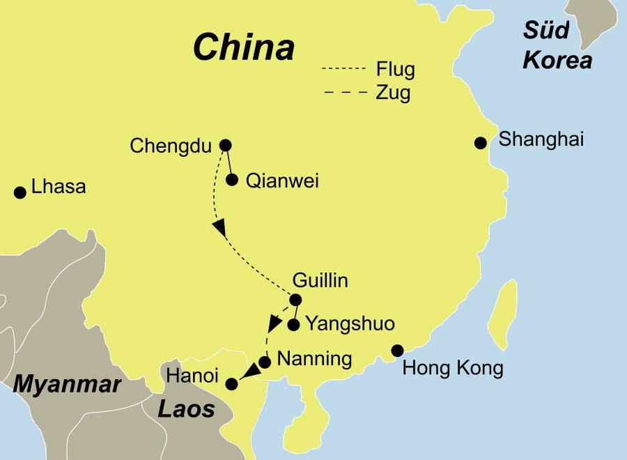 Die China Rundreise führt von Chengdu über Qianwei, Chengdu, Guilin, Yangshuo, Nanning nach Hanoi (Vietnam).