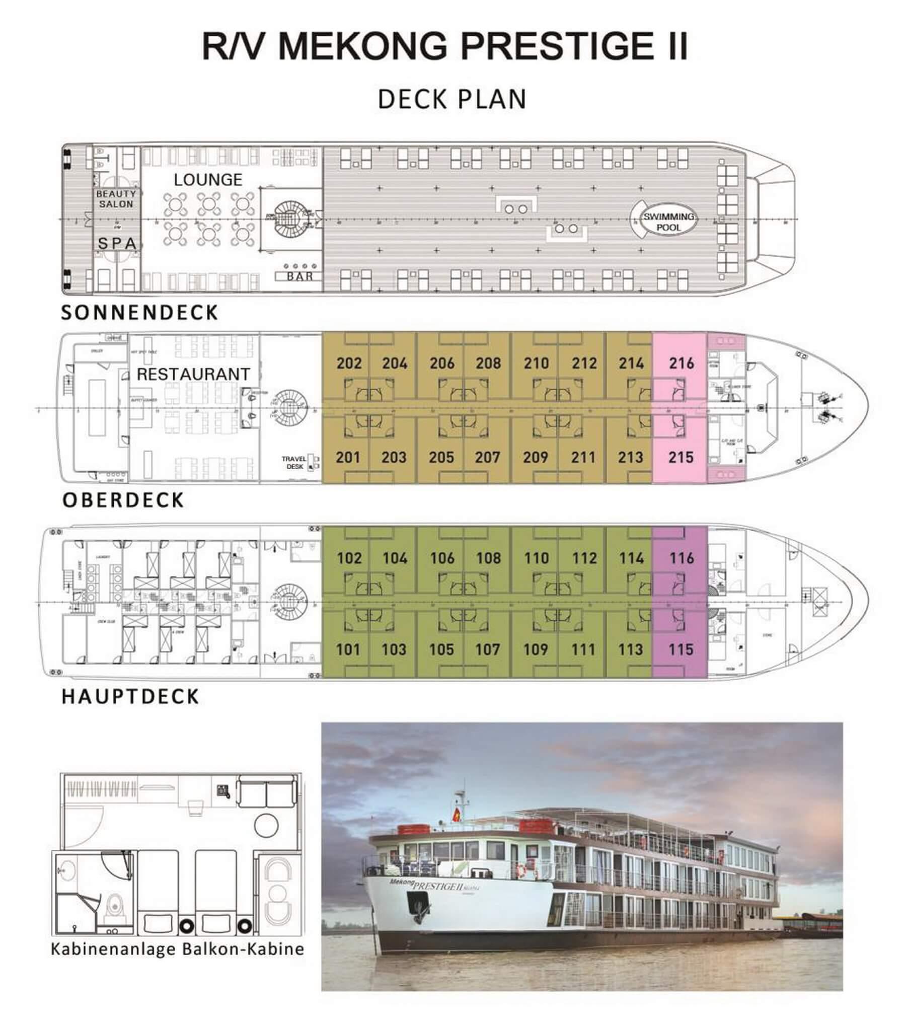 Der Deckplan der Mekong Prestige II zeigt die Verteilung der Kabinen auf dem Kreuzfahrtschiff