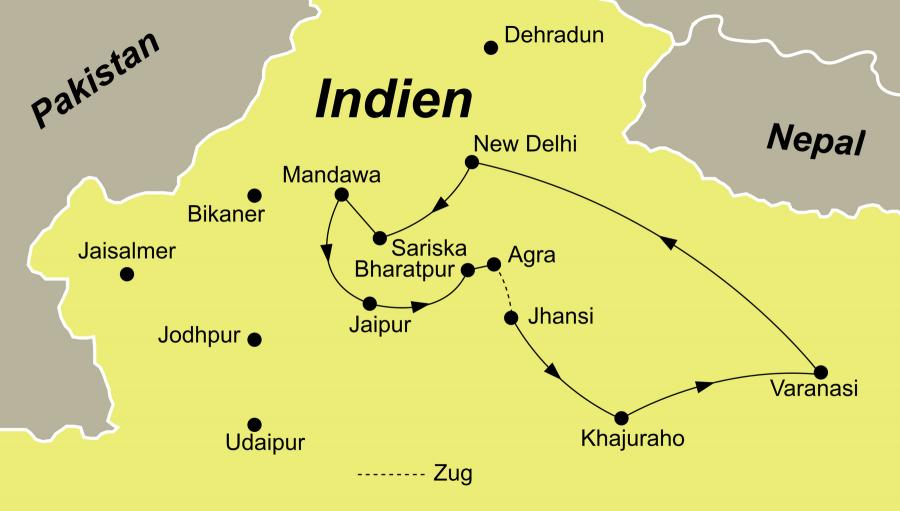 Der Reiseverlauf zu unserer Indien Reise goldenes Dreieck startet und endet in Delhi.