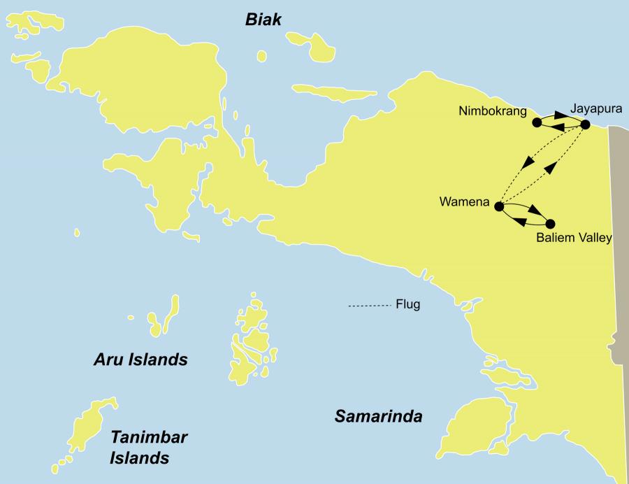 Die Iran Jaya Rundreise führt von Jayapura über Wamena, Dani Weiler, Baliem Schlucht, Pass-Valley, Habema See, Baliem Valley, Wamena, Jayapura, Nimbokrang zurück nach Jayapura.