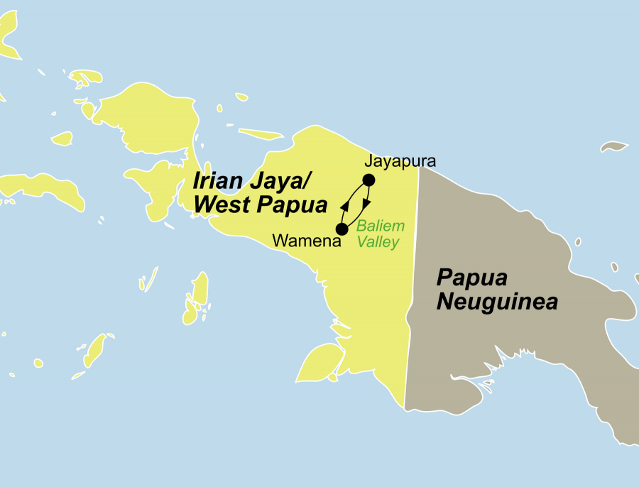 Der Reiseverlauf zu unserer Indonesien Reise Irian Jaya / West Papua startet und endet in Jayapura.