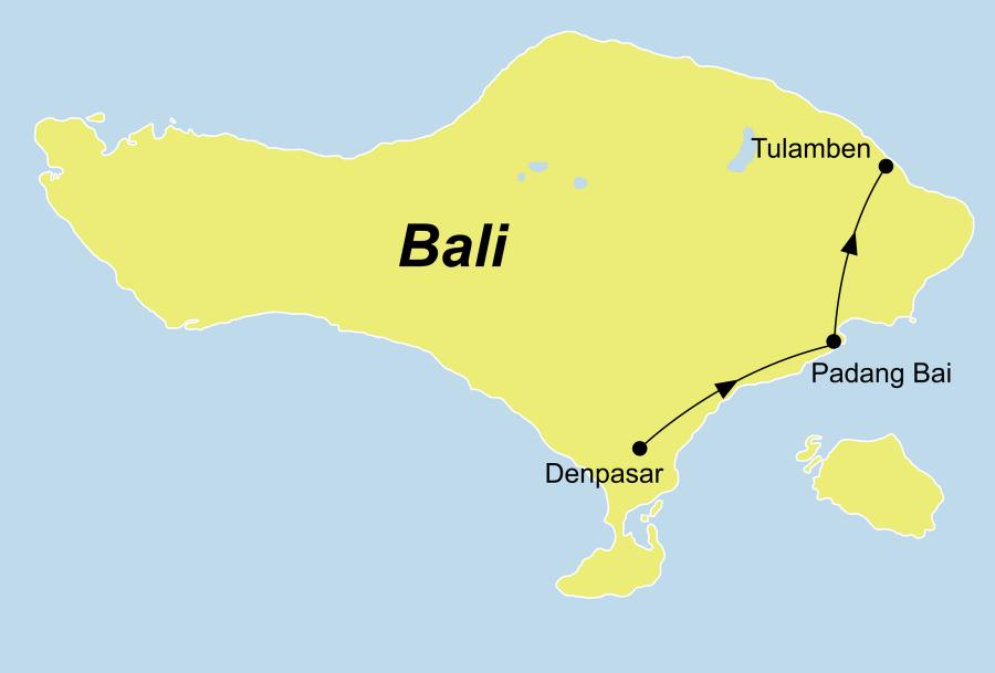 Die Indonesien Kreuzfahrt führt von Denpasar über Gili Mimpang, Nusa Penida / Nusa Lembongan, Manta Point, Tulamben, Kubu wieder zurück nach Tulamben.