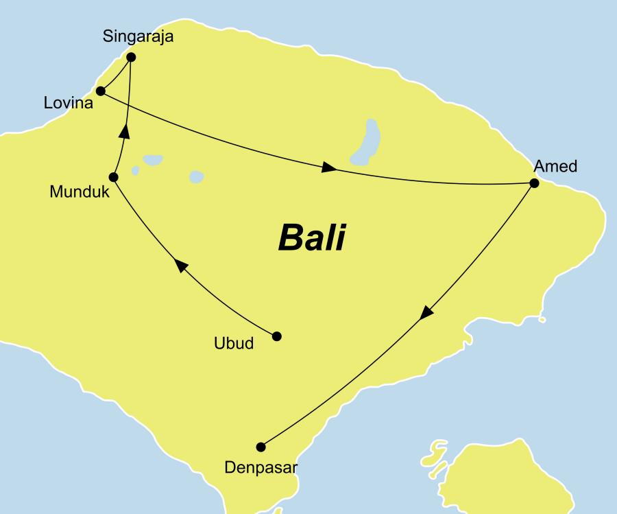 Der Reiseverlauf zu unserer Indonesien Reise Erlebe Bali - Ubud, Jeepsafari & Baden startet in Denpasar und endet in Südbali.