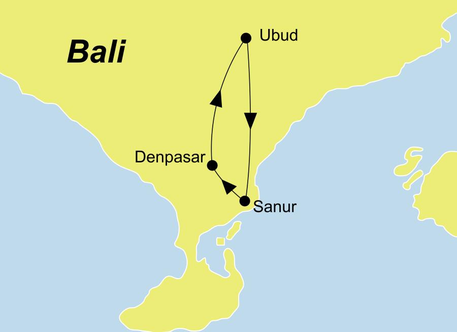 Der Reiseverlauf zu unserer Indonesien Reise Bali Hideaway startet und endet in Denpasar