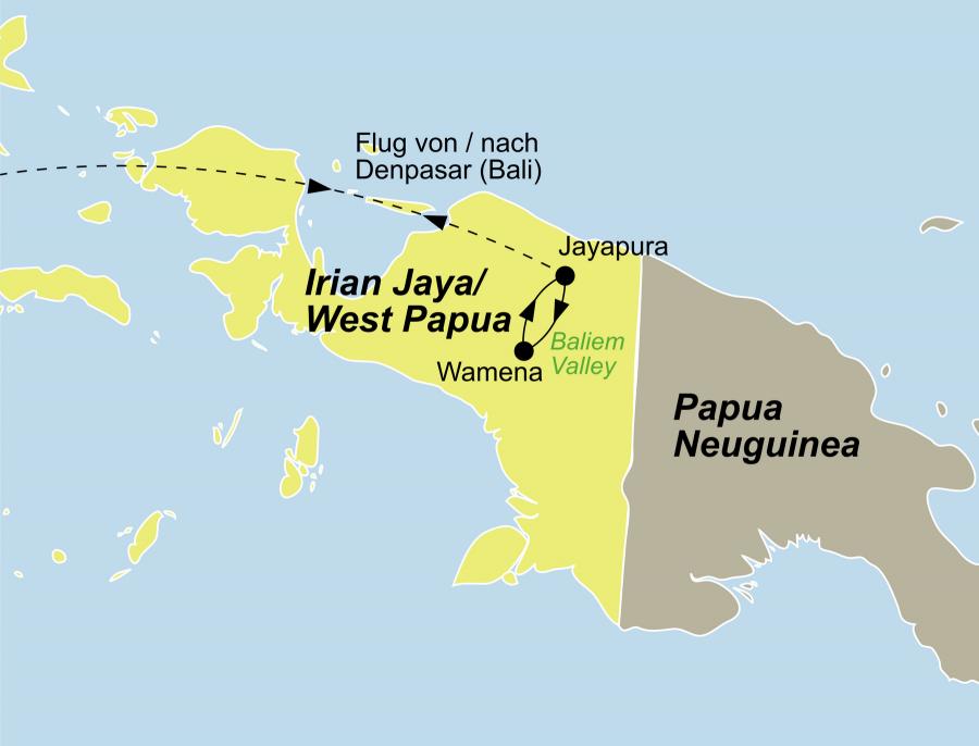 Der Reiseverlauf zu unserer Indonesien Reise Papua: Wamena Hochlandshow startet in Jayapura und endet in Timika.