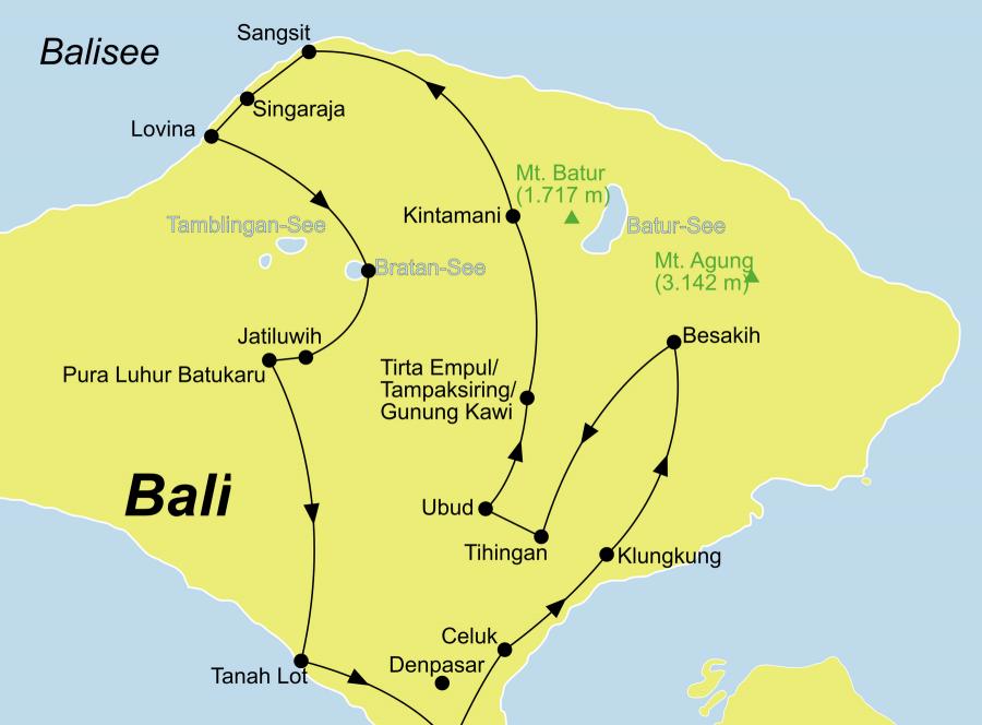 Die Bali Rundreise führt von Südbali/Ubud über Celuk, Klungkung, Besakih, Tihingan, Ubud, Tirta Empul, Tamapaksiring, Gunung Kawi, Kintamani, Sangsit, Lovina, Bratan-See, Jatiluwih, Pura Luhur Batukaru,Tanah Lot zurück nach Südbali.