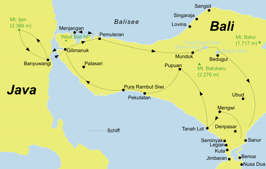 Die Bali Rundreise führt von Südbali / Ubud über Taman Ayun, Tanah Lot, Gilimanuk, Banyuwangi, Ijen Plateau, Pemuteran, Menjangan Island, Munduk, Candi Kuning, Batuan zurück nach Südbali / Ubud.
