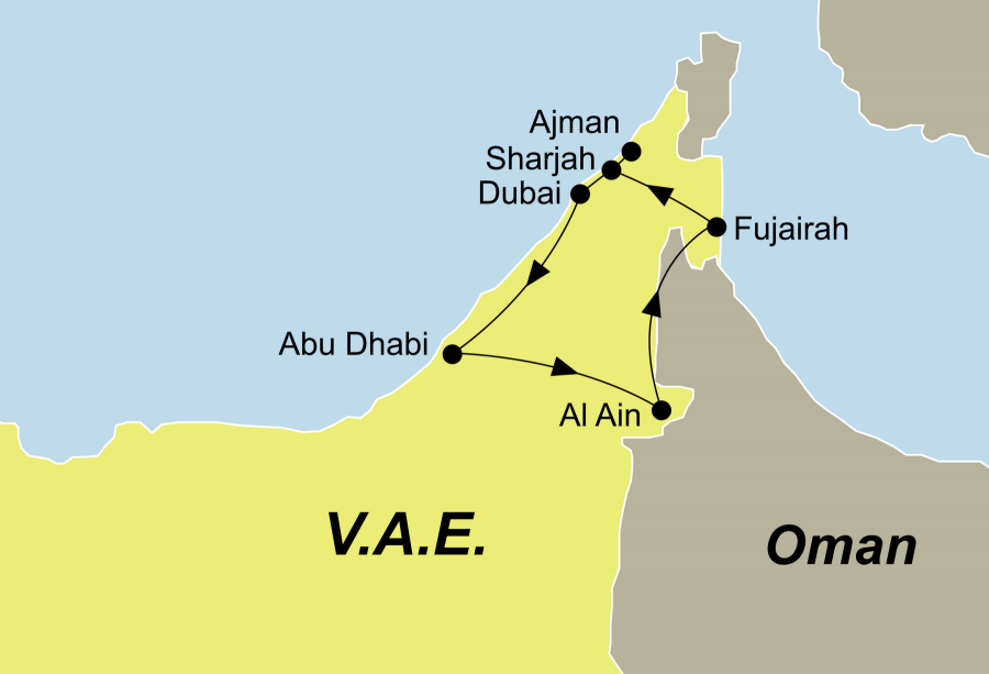 Die Emirate Rundreise führt von Dubai über Abu Dhabi, Al Ain, Fujairah, Sharjah, Ajman nach Dubai.