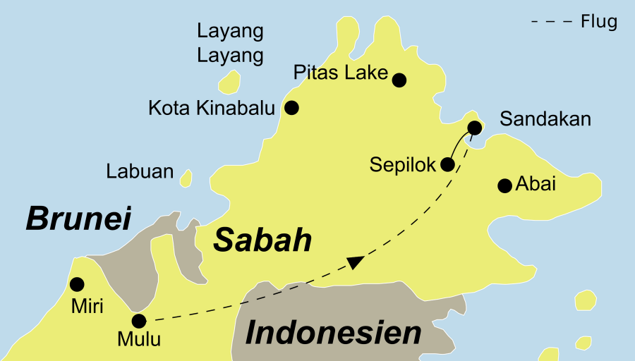 Die Borneo Rundreise führt von Mulu über Sandakan, das Sepilok Orang Utan Rehabilitationszentrum, die Abai Jungle Lodge und den Pitas Lake wieder nach Sandakan.