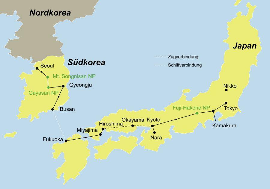Der Reiseverlauf zur Erlebnisreise Südkorea und Japan startet in Seoul und endet in Tokyo.