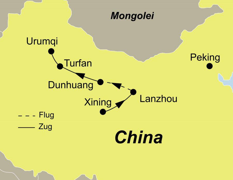 Die Reiseroute der China Rundreise führt von Xining über Lanzhou, Dunhuang, Turfan nach Urumqi.