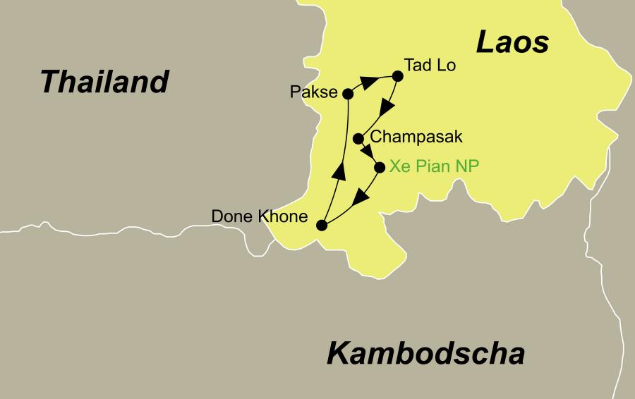 Die Laos Rundreise führt von Pakse über Tad Lo, Champasak, Xe Pian Nationalpark (Kingfisher Lodge), Done Khone zurück nach Pakse.