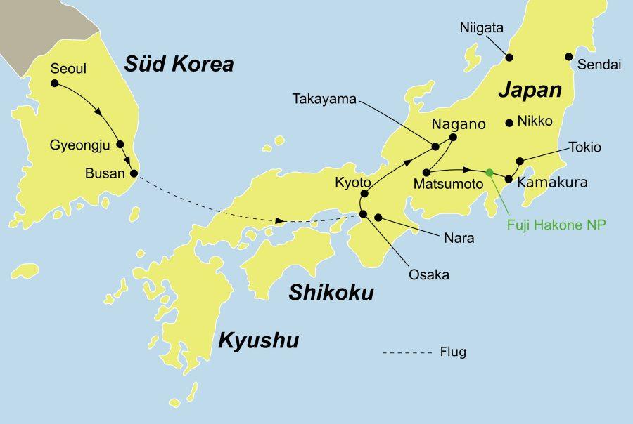 Der Reiseverlauf zu unserer Korea Reise Ginseng startet in Seoul und endet in Tokyo.