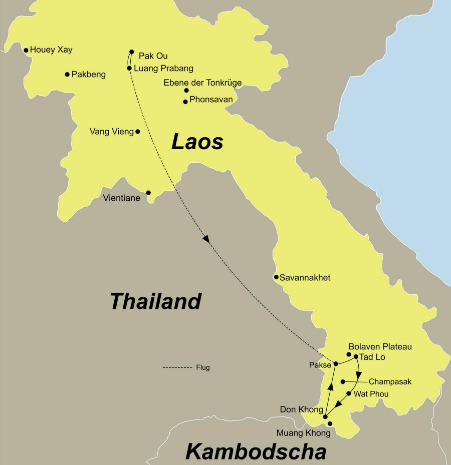 Die Laos Rundreise führt von Luang Prabang über Bolaven-Plateau, Khong Island nach Pakse.