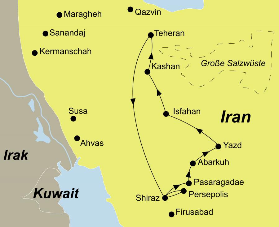 Der Reiseverlauf zu unserer Iran Reise Glanzlichter Persiens startet und endet in Teheran.