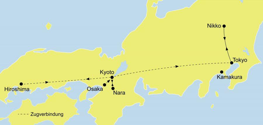 Der Reiseverlauf unserer Japan Reise - Grunkurs Japan startet entweder in Tokio oder Kyoto