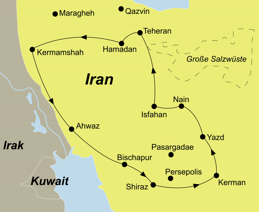 Der Reiseverlauf zu unserer Iran Reise Höhepunkte Persiens startet in Teheran und endet in Shiraz.