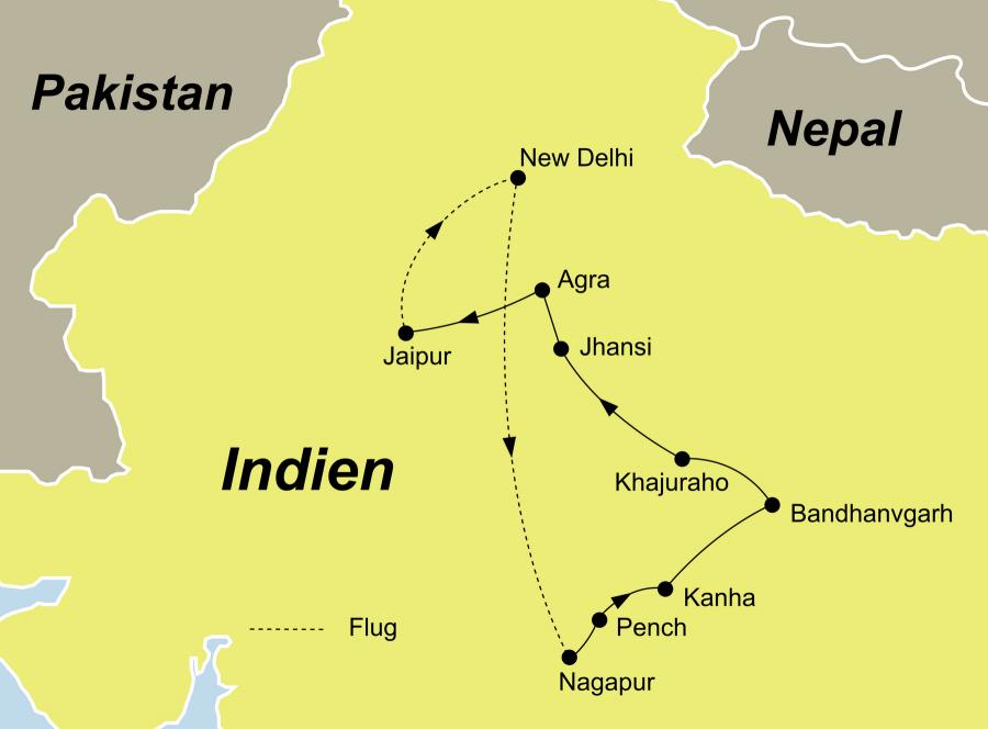 Der Reiseverlauf der Indien Rundreise mit Tigern startet in Delhi und endet in Jaipur.