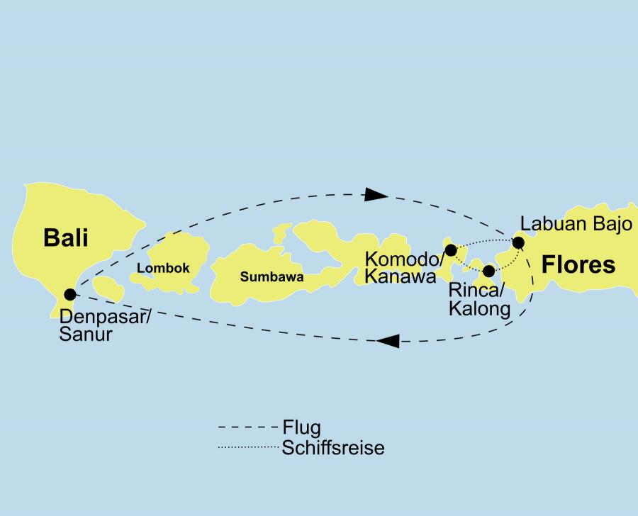 Der Reiseverlauf der Indonesien Reise Indonesien Deluxe startet in Denpasar und endet in Labuan Bajo (Flores).