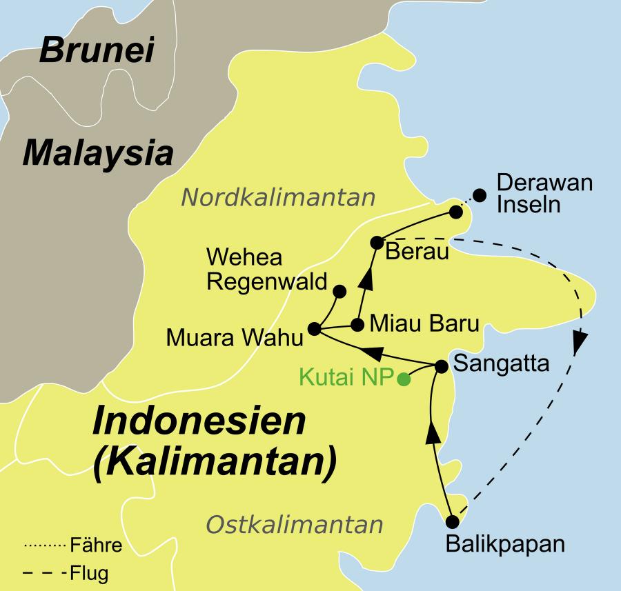 Der Reiseverlauf zu unserer Indonesien Reise Kalimantan Rundreise Wildlife startet in Balikpapan und endet auf Derawan Island.