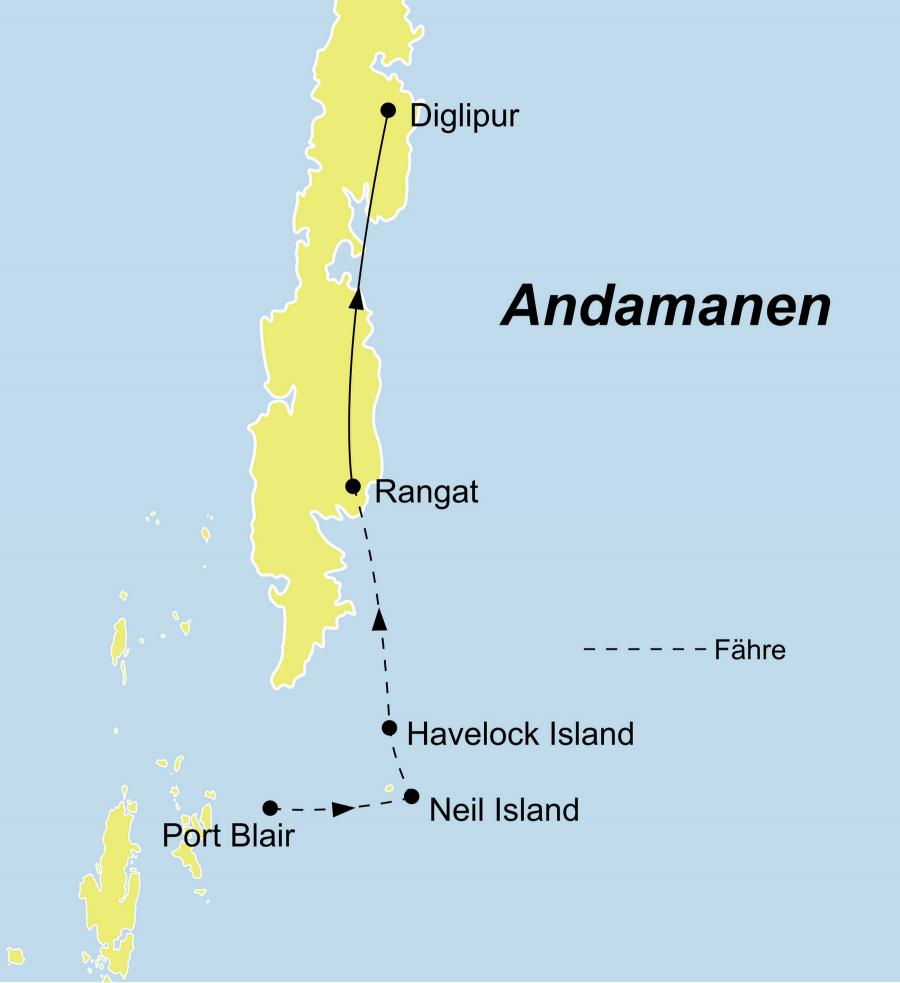 Die Indien Rundreise führt von Port Blair über Neil Island, Havelock Island, Rangat, Diglipur zurück nach Port Blair.