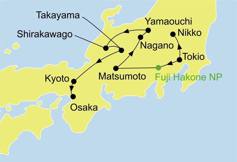 Der Reiseverlauf zu unserer Japan Reise Japan Bonsai startet in Tokyo und endet in Osaka.