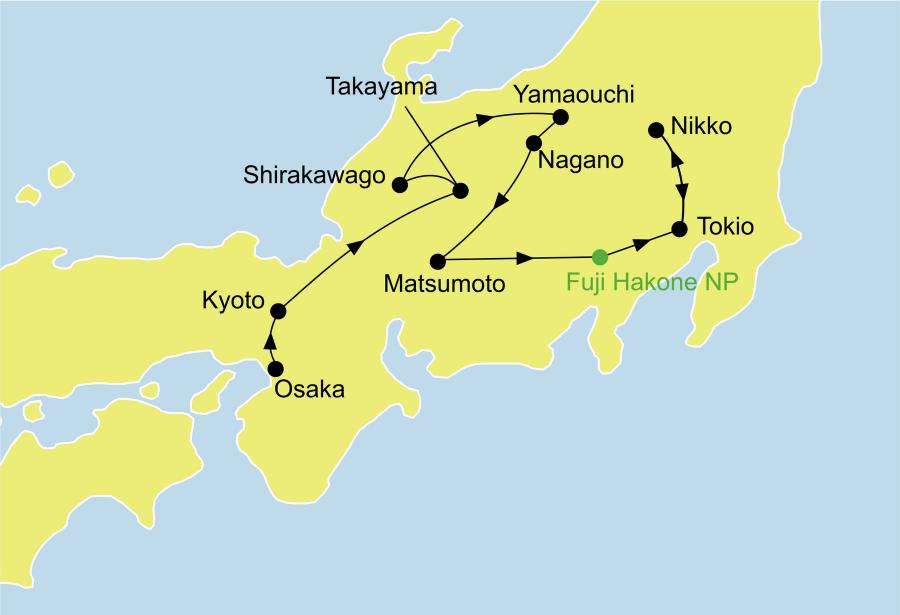 Der Reiseverlauf zu unserer Japan Reise Japan Bonsai startet in Osaka und endet in Nikko.